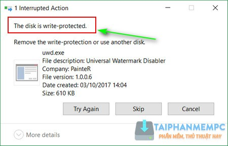 how to open write protected usb