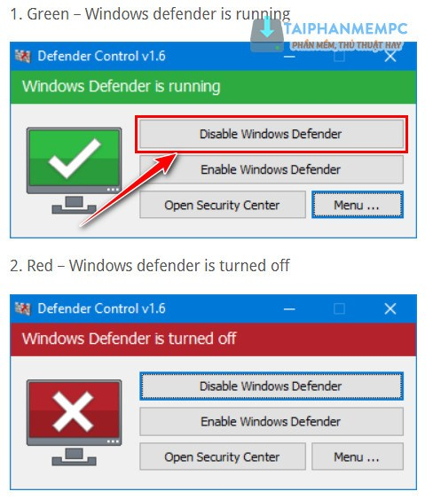 tat windows defender tren windows 10