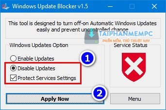 chan update tren windows 10